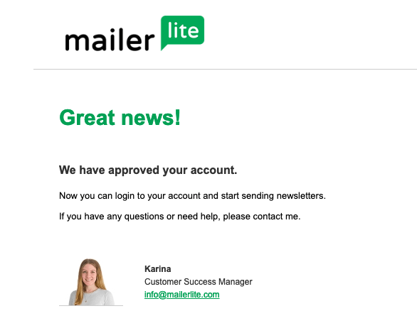 mailerlite account approved