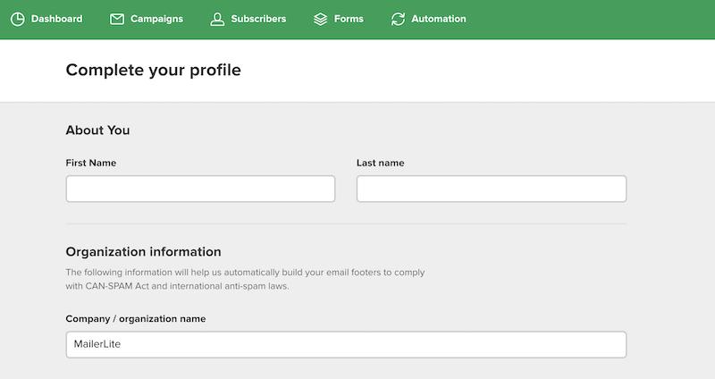 mailerlite complete profile