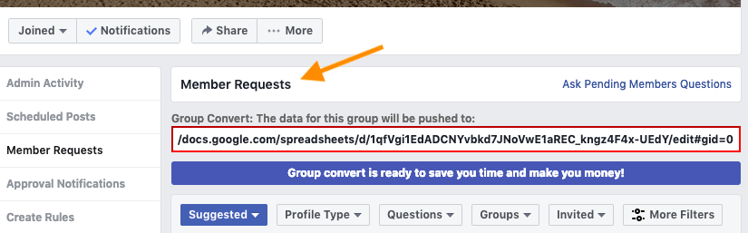 fb member request