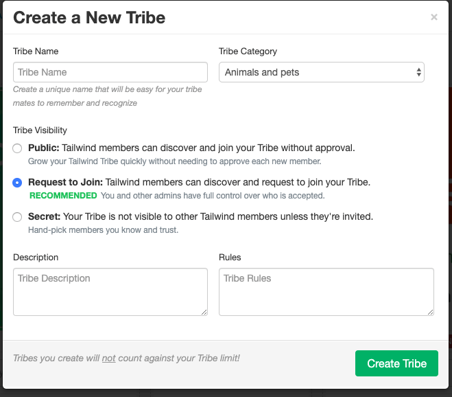 create new tribe