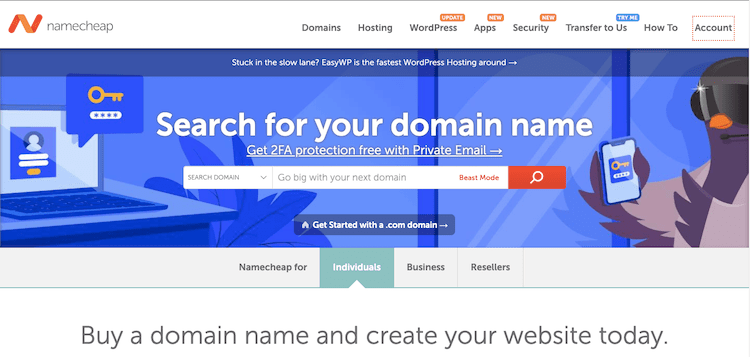 namecheap homepage