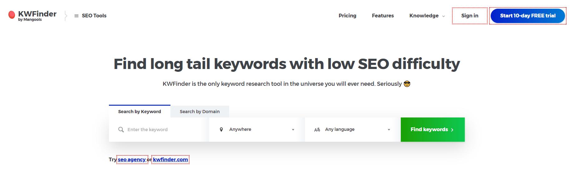 keyword tool kwfinder